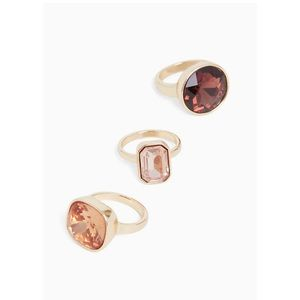 🆕 Gold-Tone Faux Stone Ring Set of 3 Torrid NWT